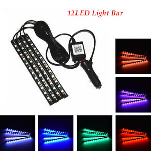 4X10W 12 LED Car Atmosphere RGB App Music Control Strip Lights Interior Silicone