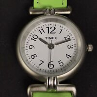 Timex Womens Watch Easy Read Green Leather  Band Brushed Metal Case Quartz
