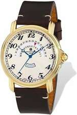 Mens Charles Hubert Gold-plated Leather Band Round Watch
