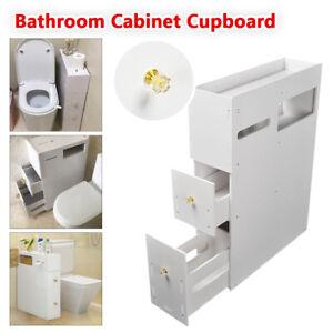 Bathroom Furniture Cabinet Toilet Paper Roll Holder Storage Organiser Cupboard