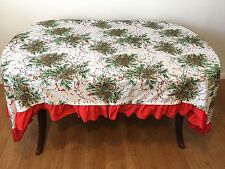 Vintage Christmas Tablecloth Oblong 90 x 62 Pine Fir Cones Branches Red Berries