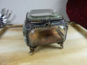 Victorian  Antique French Ormolu Bevelled Glass Trinket Jewellery Casket Box