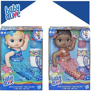Baby Alive Shimmer Splash Mermaid Blonde or Black Hair! New! Great Gift! SALE!