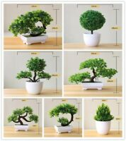 Artificial Plants Potted Bonsai Green Small Tree Plants Fake Flowers Potted