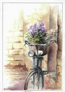 original painting A4 30BOK art samovar Watercolor bicycle with flowers Signed