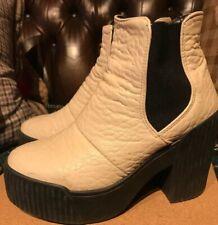 Top Shop Ladies White Ankle Boots Platform Wedges Chelsea  Size 4 / 37
