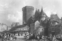 France MARKET CITY HALL ANGOULEME Medieval Architecture 1865 Art Print Engraving