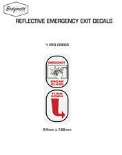 EMERGENCY EXIT Break Glass, Turn Down stickers REFLECTIVE 415mm x 50mm