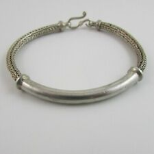 "Sterling Silver 925 Foxtail Link Curved Tube Hook Clasped Bracelet 7"" - 18.1 G18"