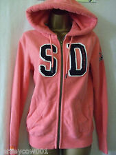 NEW £50, SUPERDRY SIZE 10, CORAL FONTAINE- APPLIQUE ZIP HOODIE