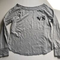 Victorias Secret VS Logo Gray Black Long Sleeve Top Sz S A587