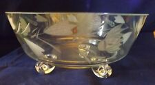 Vintage Footed Clear Glass Bowl w/ Frosted Leaves