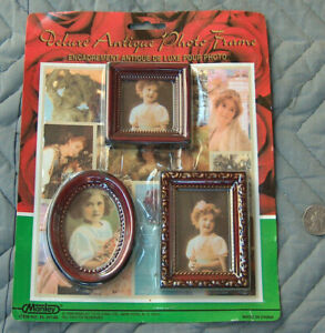 NOS 1999 Manley (3) DELUXE mini ANTIQUE PHOTO FRAMES Oval, Square, Rectangle NIP