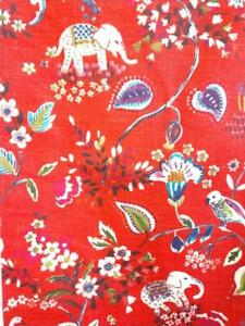 "WORLD MARKET Elephant TABLE RUNNER 90"" x 15 3/4"" Red Cotton Printed Design"