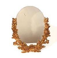 Vintage Syroco Mid Century Large Oval Mirror Hollywood Regency Roses Velvet Bac