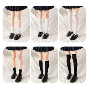 JK Woman Socks Cute Black White Lolita Long Socks Knee High Socks Solid Color