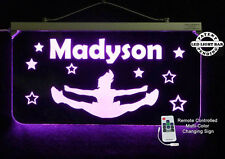 Multicolor Changing Personalized Custom Cheerleader LED Sign, Cheerleading Sign