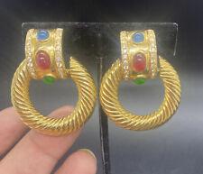Vintage Gripoix? glass cabochon gold Tone door knocker clip earrings