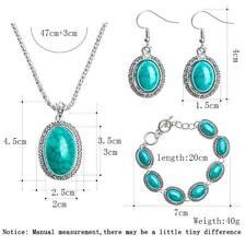Fashion New Women Vintage Turquoise Hook Earrings Bracelet Necklace Jewelry Set