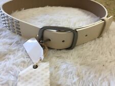New Vans Leather Belt White With Metal Accents NWT Small Unisex