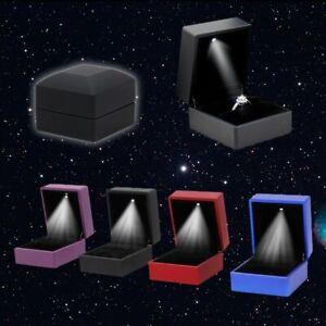✓ LED Ring Box Samt Schmuck-Etui Ringschachtel Schmuckschachtel  Geschenkbox