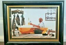 """Colorful Bath Man in Tub Home Decor Photo Print Picture Framed / Matted 5"""" X 7"""""""