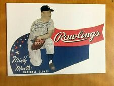 MICKEY MANTLE  New York Yankees Baseball Card  Rawlings Gloves  ''Promotional''