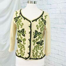 J Jill M Cardigan Sweater Angora RE:Limited Edition Beige Green Applique #L