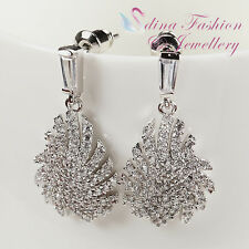 Diamond Feather Wedding Stud Earrings 18K White Gold Plated Elegant Studded