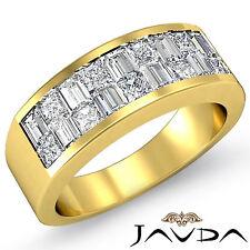 Princess Baguette Invisible Diamond Men Wedding Band 14k Yellow Gold Ring 1.40Ct