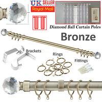 CURTAIN POLE METAL EXTENDABLE 70-120CM 28M RINGS ROD FITTING FINIALS RAIL NET UK