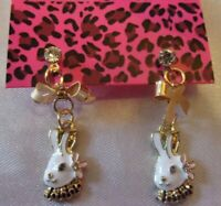 NWT BETSEY JOHNSON  RABBIT CRYSTAL ENAMEL STUD EARRINGS