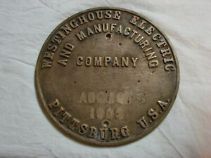 1903 Brass Westinghouse Builders Plate off Early Electric Locomotive nr
