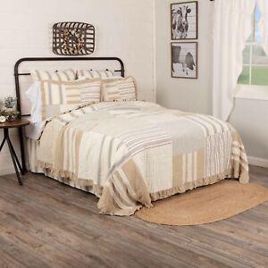 VHC Brands Farmhouse Twin Quilt White Patchwork Grace Cotton Bedroom Decor
