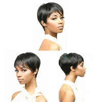 Fashion Afro American Women Wigs Synthetic Black Straight Hair Short Full Wigs