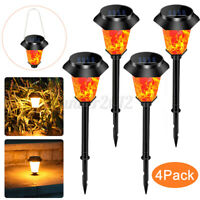 4 Pack Solar LED Lawn Light Flickering Flame Outdoor Garden Yard Landscape