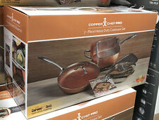 "New Copper Chef Pro 7 pc. 11"" Square & 12"" Round Fry Pan with Lids Cookware Set"