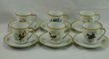 HUTSCHENREUTHER GERMANY NOBLESSE PASCO AUDUBON BIRDS CUPS AND SAUCERS SET 6