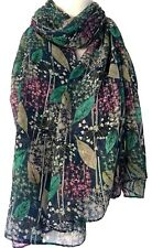 Blue Scarf Pink Green Floral Wrap Ladies Navy Allium Flowers Shawl Flower Print