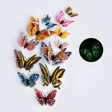 12PCS 3D BUTTERFLY GLOW IN THE DARK DECAL WALL MAGNETIC STICKER HOME DECOR