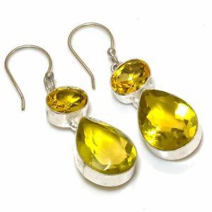 "Citrine Ethnic Handmade Gemstone Jewelry Earring 1.81""  xcc58"