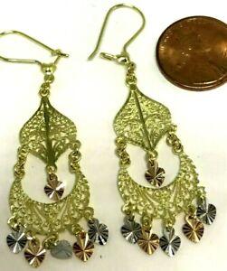 """GOLD 14k Earring Chandelier heart filigree Gypsy Long drop dangle 2.40"""""""