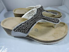 Bata T Strap Wedge Sandals Pewter Bead
