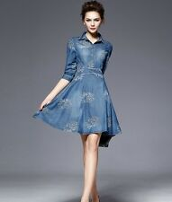 6952756057d34 Fashion Women Slim Fit Denim Jean Dress Bowknot Belt Long Sleeve Shirt Dress