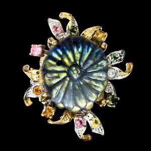 Handmade Labradorite Flower Carvings 22 ct Tourmaline 925 Sterling Silver Ring 9