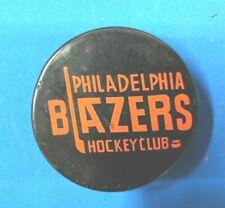 VINTAGE RARE WHA BLANK REVERSE PHILADELPHIA BLAZERS CZ3 SLUG GAME PUCK 1972-73