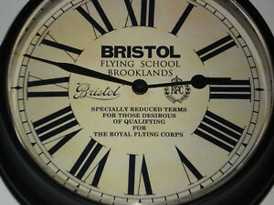Bristol Flying School Brooklands, Royal Flying Corps, Vintage Style Wall Clock.