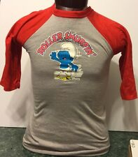 Smurf T-Shirt Solid 3/4 Red Sleeves Youth L (14-16) cotton/polyester Velva Sheen