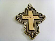 vintage 3.5 inch pendant gold tone metal my guiding cross Gloria duchin 49747