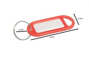 Schlüsselring Tag 50mm X 20mm mit Label Und Split Schlüsselring Rot Packung 20
